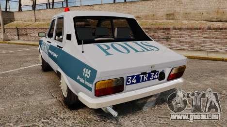 Renault 12 Turkish Police [ELS] pour GTA 4 Vue arrière de la gauche
