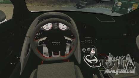 Audi R8 GT Coupe 2011 Drift pour GTA 4 est une vue de l'intérieur