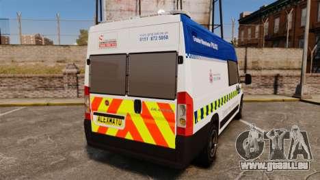 Fiat Ducato Manchester Police [ELS] pour GTA 4 Vue arrière de la gauche