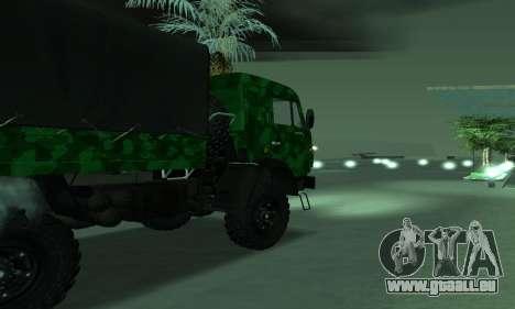 Armée KAMAZ 4310 pour GTA San Andreas laissé vue