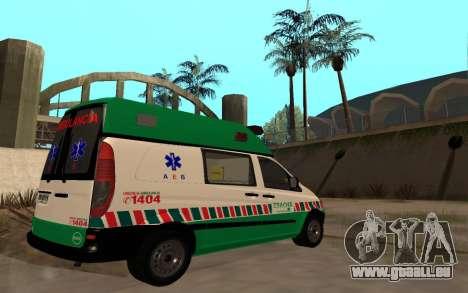 Mercedes-Benz Vito Ambulancia ACHS 2012 für GTA San Andreas Rückansicht