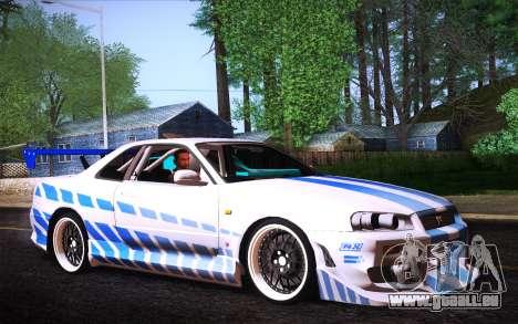 Nissan Skyline R34 FnF pour GTA San Andreas laissé vue