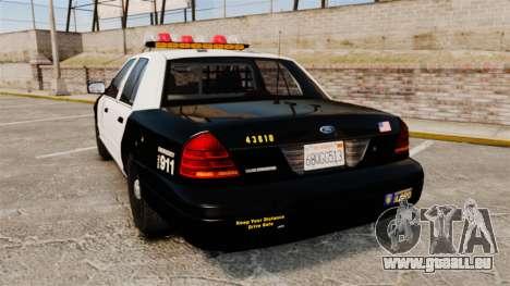 Ford Crown Victoria 1999 LAPD & GTA V LSPD pour GTA 4 Vue arrière de la gauche