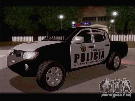 Mitsubishi L200 POLICIA pour GTA San Andreas sur la vue arrière gauche