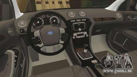 Ford Mondeo Unmarked Police [ELS] pour GTA 4 est une vue de l'intérieur