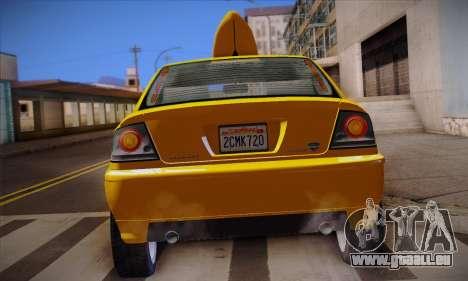Declasse Premier Taxi pour GTA San Andreas vue de dessus