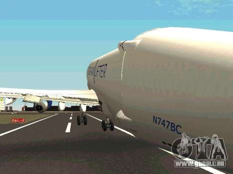 Boeing-747 Dream Lifter pour GTA San Andreas vue de dessous