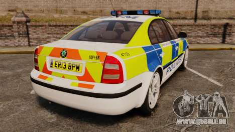 Skoda Superb 2006 Police [ELS] Whelen Edge pour GTA 4 Vue arrière de la gauche