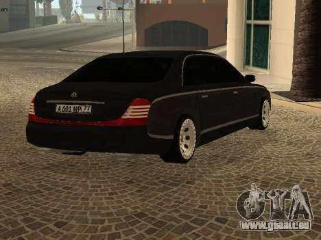 Maybach 62 V2.0 pour GTA San Andreas sur la vue arrière gauche