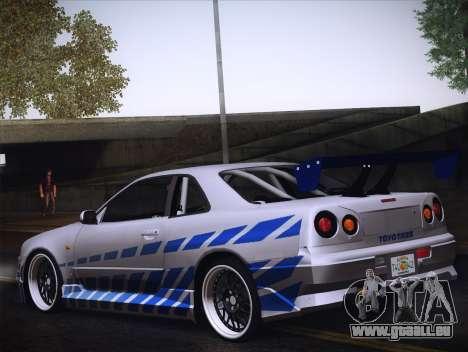 Nissan Skyline R34 FnF pour GTA San Andreas vue de droite
