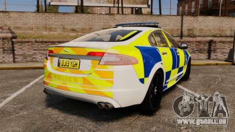 Jaguar XFR 2010 Police Marked [ELS] pour GTA 4 Vue arrière de la gauche
