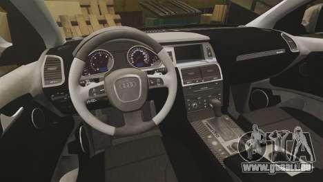Audi Q7 Unmarked Police [ELS] pour GTA 4 est une vue de l'intérieur