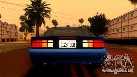 Chevrolet Camaro IROC-Z 1990 pour GTA San Andreas vue de dessus