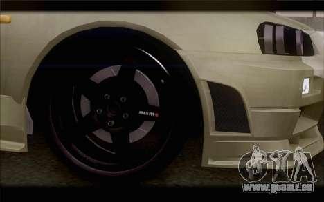 Nissan Skyline R34 Z-Tune für GTA San Andreas zurück linke Ansicht