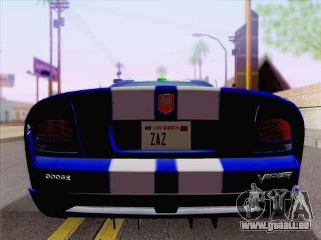 Dodge Viper SRT-10 Coupe pour GTA San Andreas vue de dessus
