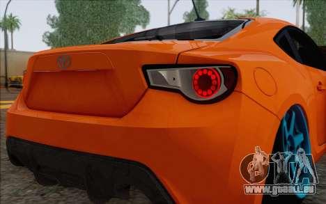 Toyota GT86 Lowstance für GTA San Andreas Innenansicht