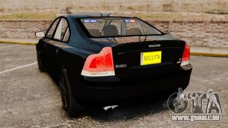 Volvo S60R Unmarked Police [ELS] pour GTA 4 Vue arrière de la gauche