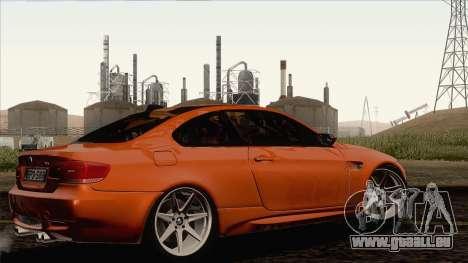 BMW M3 E92 2008 Vossen für GTA San Andreas zurück linke Ansicht