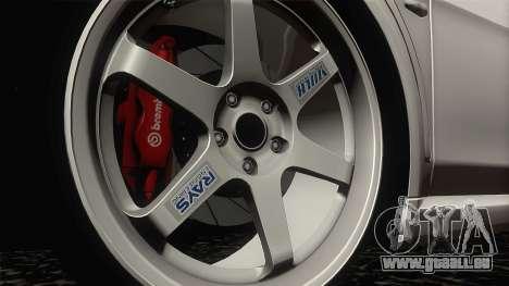 Mitsubishi Lancer X Evolution für GTA San Andreas Rückansicht