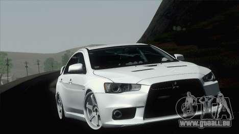 Mitsubishi Lancer X Evolution pour GTA San Andreas vue intérieure