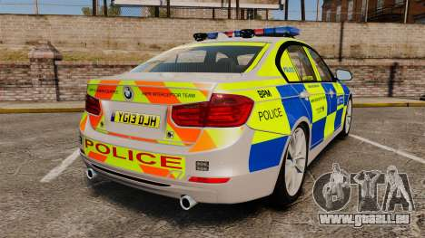 BMW F30 328i Metropolitan Police [ELS] pour GTA 4 Vue arrière de la gauche