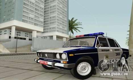 VAZ 2106 Police pour GTA San Andreas vue intérieure