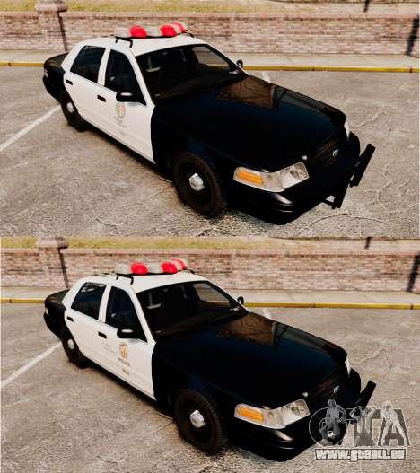 Ford Crown Victoria 1999 LAPD & GTA V LSPD pour GTA 4 est une vue de l'intérieur