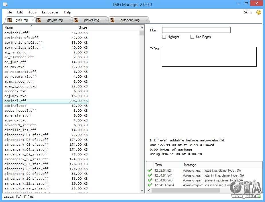 IMG Manager 2.0 pour GTA San Andreas deuxième écran: www.gtaall.eu/fr/gta-san-andreas/programs/37425-img-manager-20.html