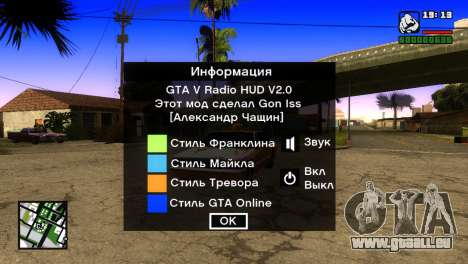 GTA 5 Radio HUD pour GTA San Andreas deuxième écran