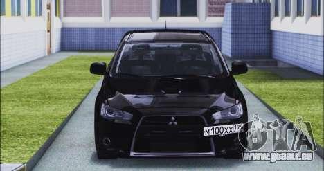 Mitsubishi Lancer Evo X pour GTA San Andreas vue arrière