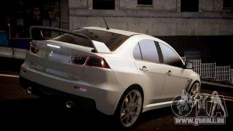 Mitsubishi Lancer Evolution X 2009 v1.3 pour GTA 4 est une gauche