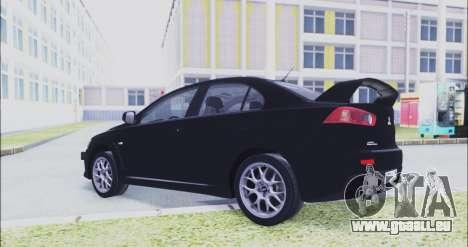 Mitsubishi Lancer Evo X pour GTA San Andreas vue de droite