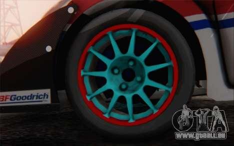 Ford Fiesta Omse HillClimb für GTA San Andreas zurück linke Ansicht