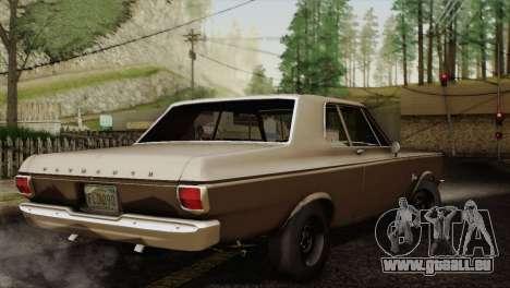 Plymouth Belvedere 2-door Sedan 1965 pour GTA San Andreas vue arrière
