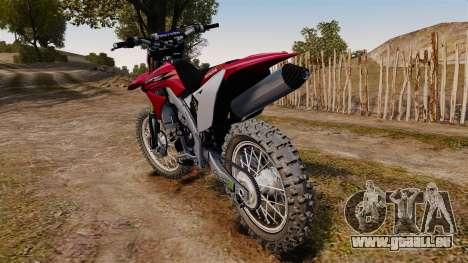 Kawasaki KX250F (Honda) pour GTA 4 Vue arrière de la gauche