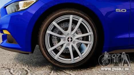 Ford Mustang GT 2015 Stock pour GTA 4 Vue arrière