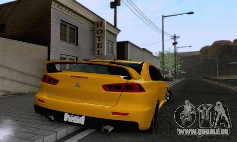 Mitsubishi Lancer X Evolution pour GTA San Andreas vue de droite