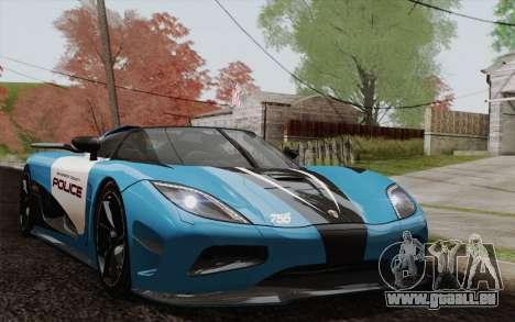 Koenigsegg Agera R für GTA San Andreas Unteransicht