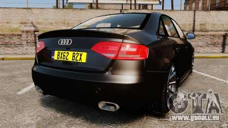 Audi S4 Unmarked Police [ELS] pour GTA 4 Vue arrière de la gauche