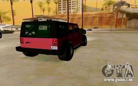 GTA V Mesa pour GTA San Andreas sur la vue arrière gauche