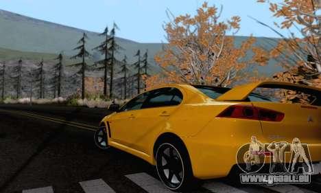 Mitsubishi Lancer X Evolution für GTA San Andreas zurück linke Ansicht