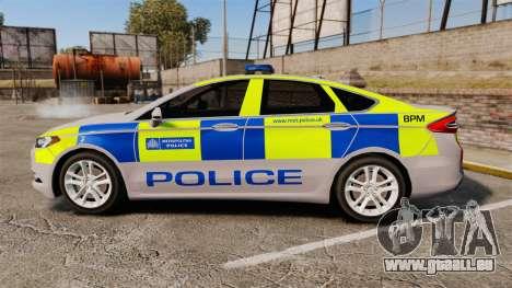 Ford Mondeo 2014 Metropolitan Police [ELS] pour GTA 4 est une gauche