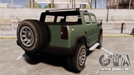 Patriot pickup pour GTA 4 Vue arrière de la gauche