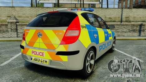 Hyundai i30 Metropolitan Police [ELS] pour GTA 4 Vue arrière de la gauche