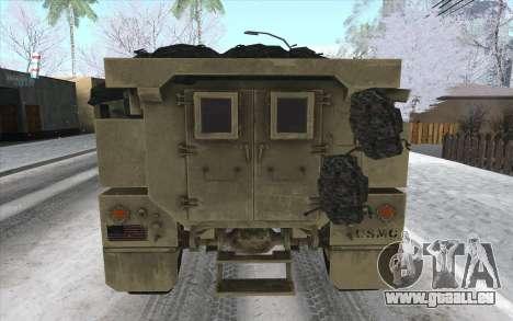 MRAP de BF4 pour GTA San Andreas sur la vue arrière gauche