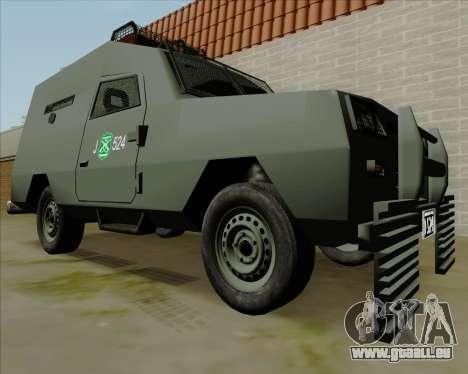 Zorrillo FF.EE pour GTA San Andreas sur la vue arrière gauche