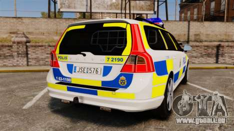 Volvo V70 II Swedish Police [ELS] pour GTA 4 Vue arrière de la gauche