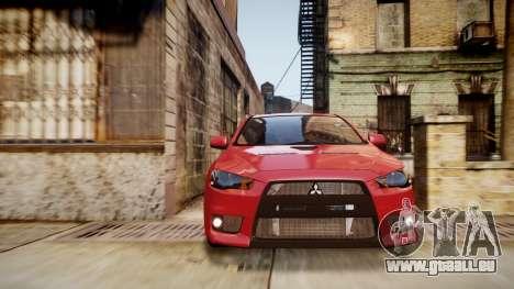 Mitsubishi Lancer Evolution X 2009 v1.3 pour GTA 4 est un droit