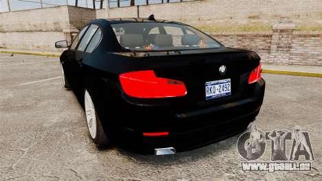 BMW M5 F10 2012 Unmarked Police [ELS] pour GTA 4 Vue arrière de la gauche