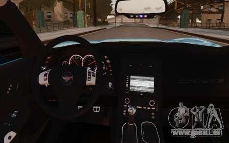 Chevrolet Corvette Grand Sport 2010 pour GTA 4 est une vue de l'intérieur